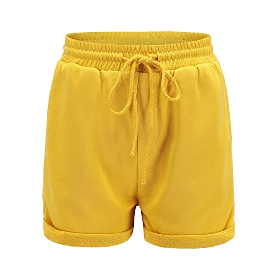 9fe4a8cb1f6d PAOLIAN Pantalones Cortos para Mujer Verano 2018 Casual Pantalones de  Vestir Running Playa Sólido Fiesta con Pretina Elástica Algodón Cintura  Alta ...