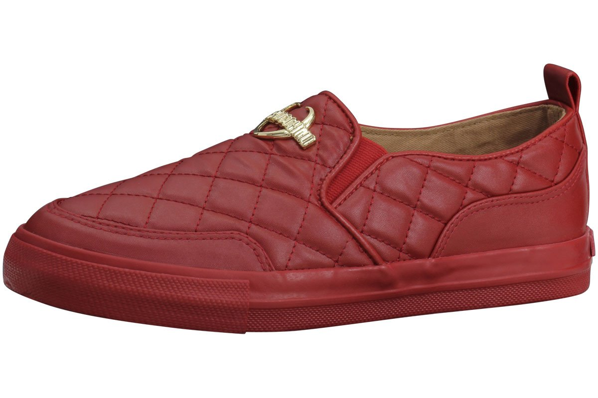 Love Moschino Women's Quilted Metal Logo Red Loafers Shoes Sz: 10