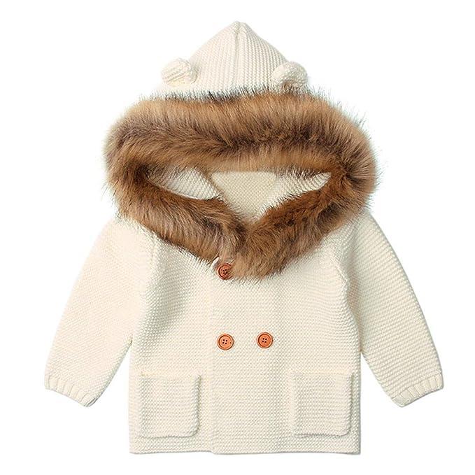 Abrigos Bebé, Dragon868 más Reciente de Invierno niño de Piel de bebé Cuello Encapuchado Abrigos
