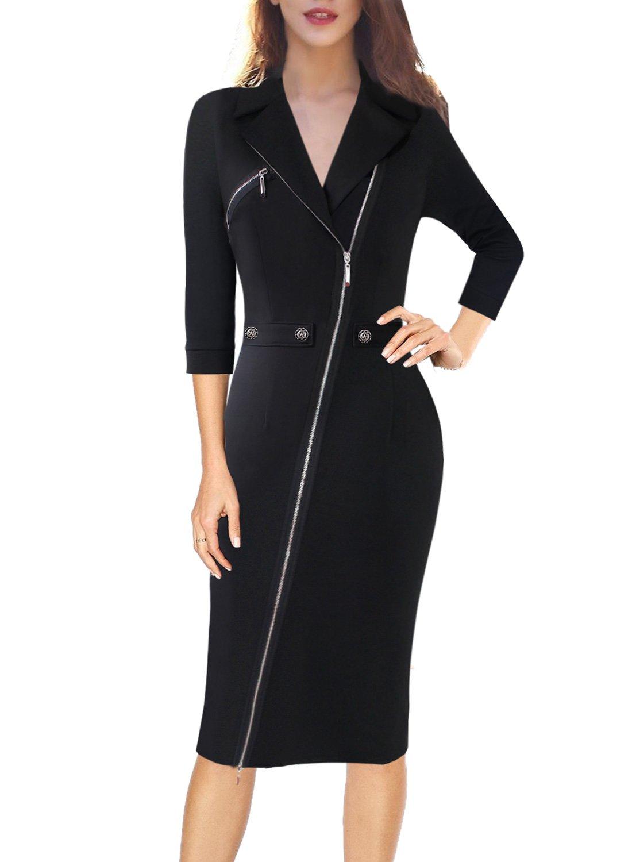 VFSHOW Women Lapel Asymmetric Zip Buttons Work Business Office Sheath Dress 900 BLK M