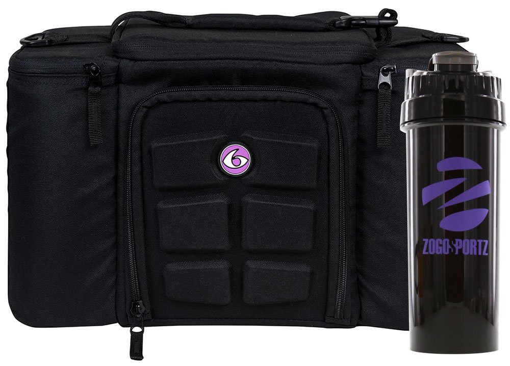 6 Pack Fitness Insulated Meal Prep Bag, Innovator 300 Black/Neon Purple (3 Meal) w/Bonus ZogoSportz Cyclone Shaker
