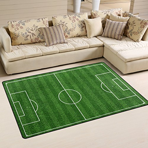 (Sunlome Top View Of Soccer Field Football Field Pattern Area Rug Rugs Non-Slip Indoor Outdoor Floor Mat Doormats for Home Decor 31 x 20 Inches)