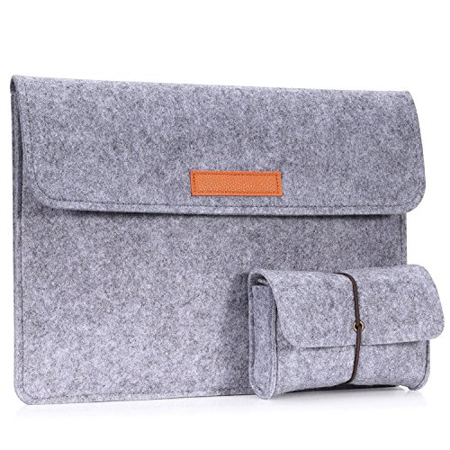 MoKo Sleeve Bag for All-New Amazon Fire HD 10 Tablet, Felt Protective Carrying Case Cover for Fire HD 10.1 Inch Tablet 2017/2015 Release, with Small Felt Bag - Light Gray