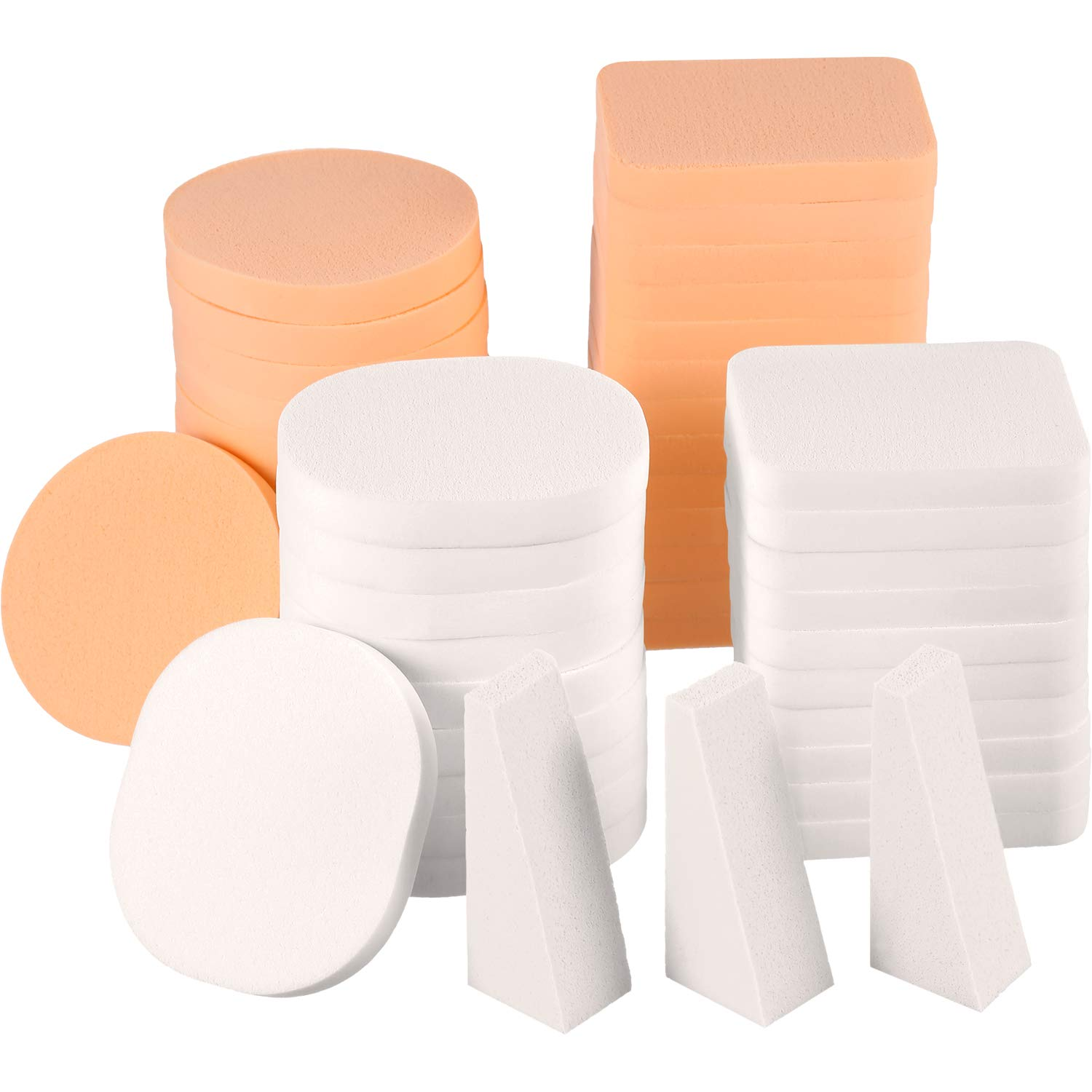 TecUnite 100 Pieces Cosmetic Sponges Latex Makeup Foam Wedges Foundation Beauty Tools (5 Styles, White and Skin)