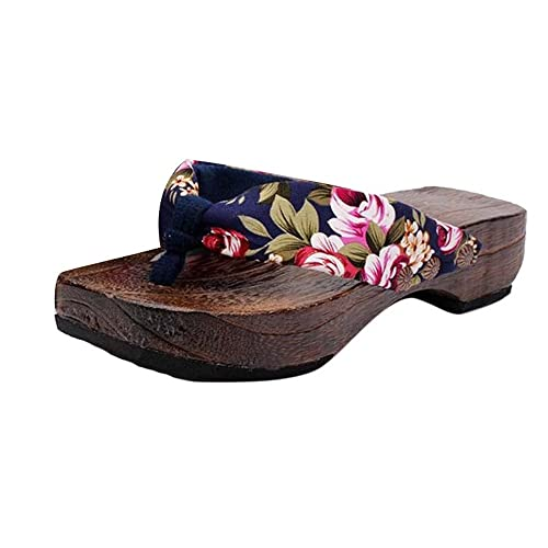 FNKDOR Holzclogs Damen Clogs Holzschuhe Holz Pantoletten Zehentrenner Sandalen
