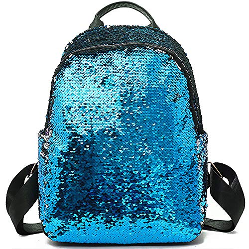 School Backpack for Girls Sequin Kids Elementary Bag Rainbow Flip Sequins Cute Preschool Backpack Lightweight Satchel for Primary Middle Junior High Casual Fashion Purse (Blue)