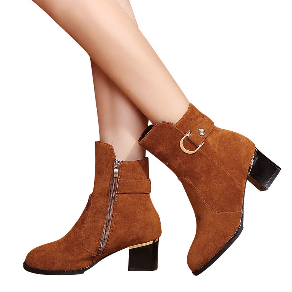 Ankle Boots, Shybuy Women Fashion Low Chunky Heel Ankle Booties Casual Dress Booties with Buckle Decor (5.5, Brown)