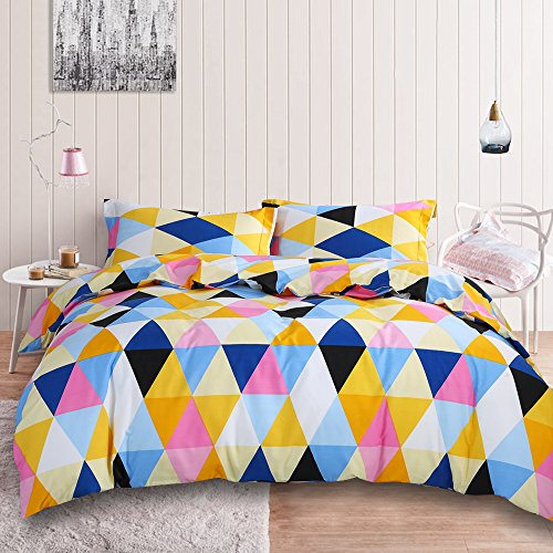 NTBAY 3 Pieces Duvet Cover Set Microfiber Colorful and Vivid Triangle Printed Pattern Design with Hidden Zipper(King, Beige) - Printed Bedding