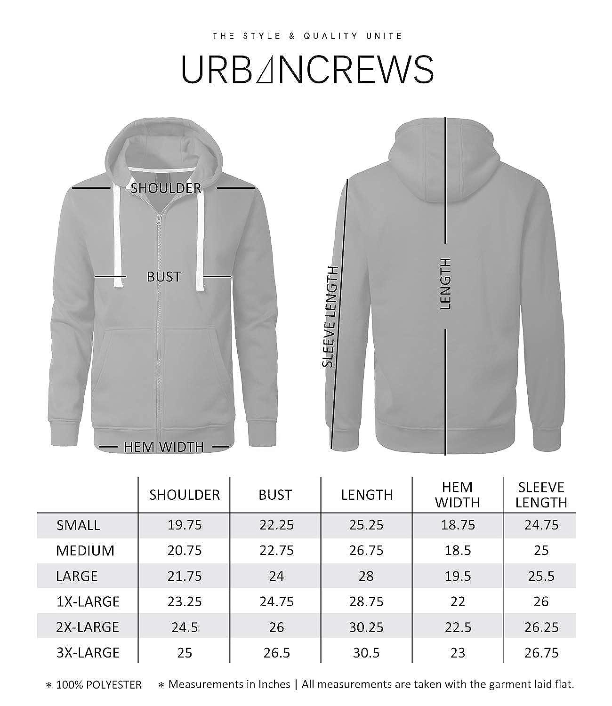 URBANCREWS Mens Hipster Hip Hop Lightweight Fleece Full Zip Up Hoodie Jacket