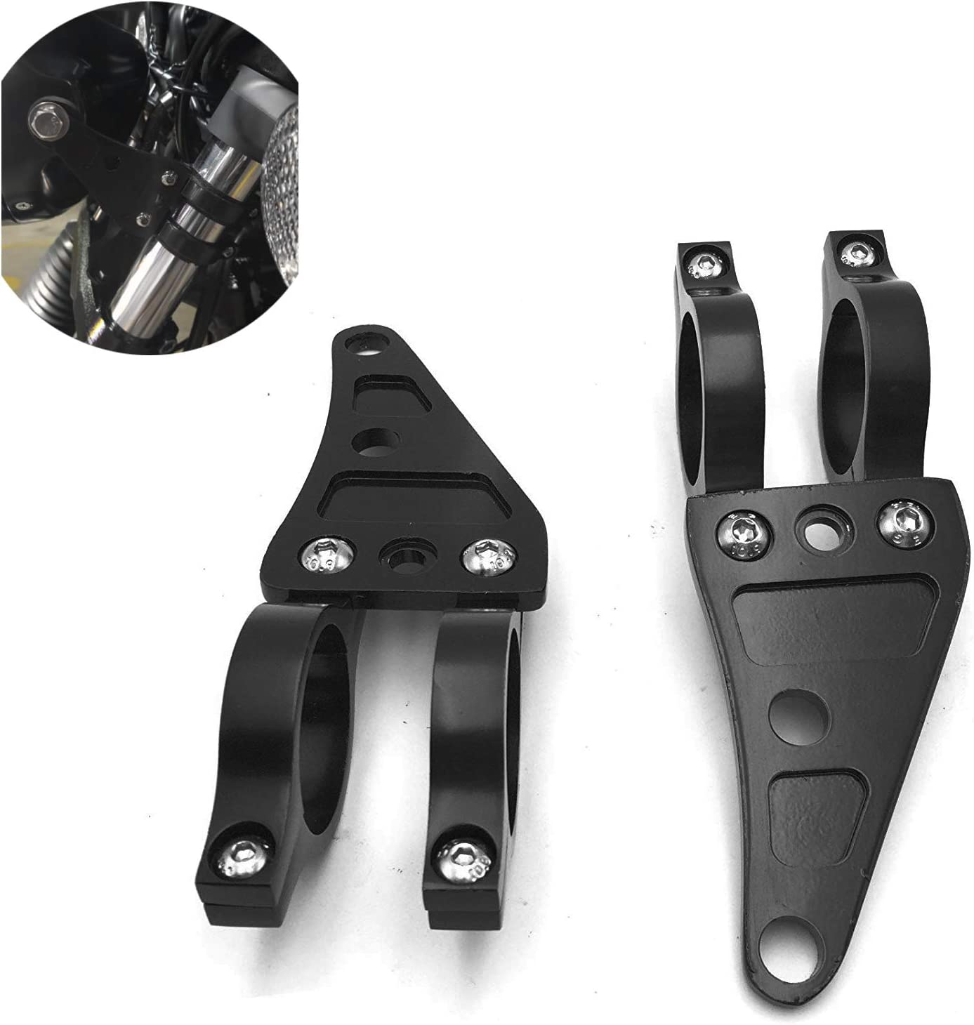 Xitomer 1 Pair for Front Fork Tubes 41mm 41mm for 7 or 5.75 Round Headlight CNC Mount Headlight Brackets