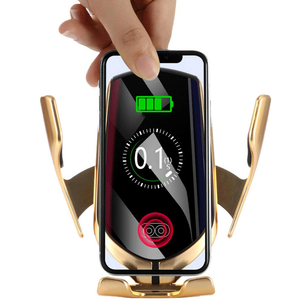 Dragon Honor Automatic Clamping Smart IR Sensor Car Mount Phone Wireless Charger Holders Rack Gold