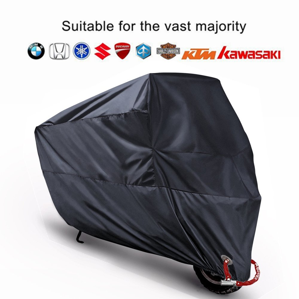 Motorcycle Motorbike Cover Scooter Protector MONOJOY Large Rain Waterproof Sun UV Shelter with Portable Storge bag (M, Black) GKmall