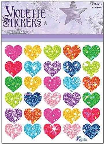 Violette Stickers Glitter Hearts