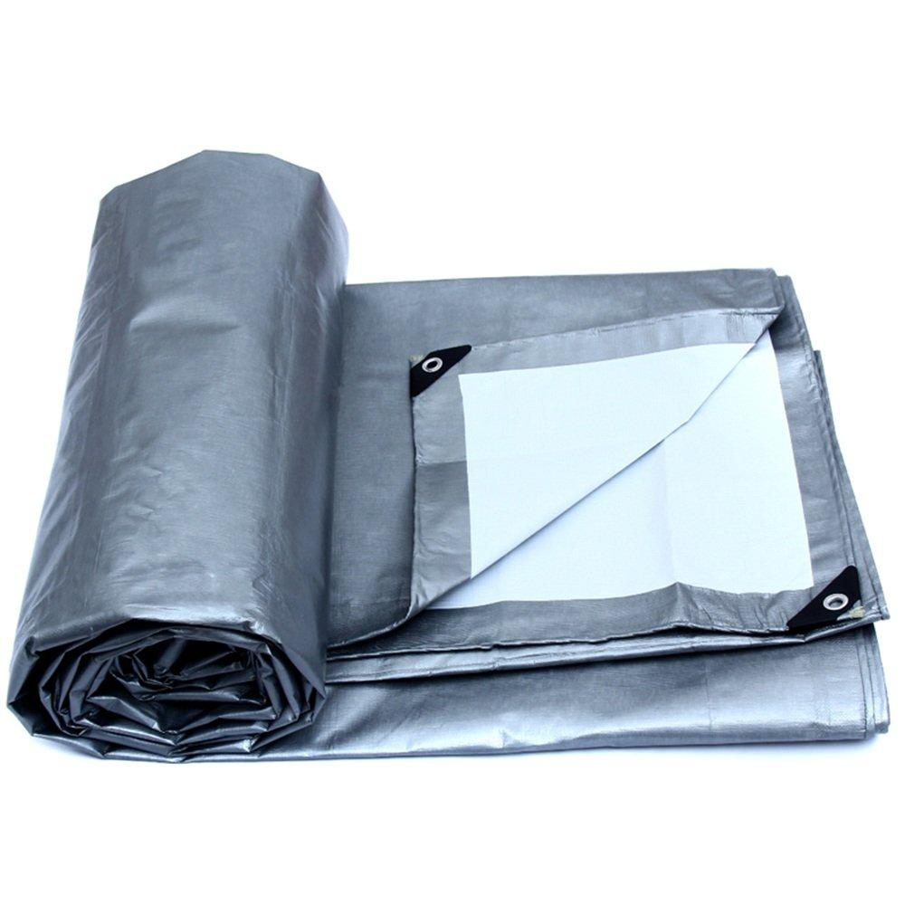 Tarpaulin HUO Starke Plane Wasserdichte Anti-UV-Schuppen-Tuch-dauerhafte Linoleum-Regen-Abdeckung, Silber + Weiß, 175g   m2 (Farbe   Silber+Weiß, größe   4  6M)
