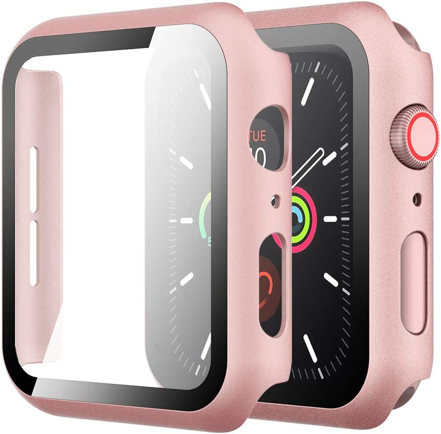 Simpeak Case with Glass Screen Protector Compatible with Apple Watch 44mm Series 4 5 6 SE, Full Coverage Slim Hard Case Built-In Tempered Glass Screen Protector Replacement for iWatch 44 mm, Rose Gold