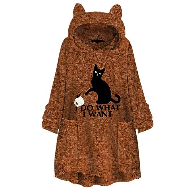 Sudadera Mujer Tumblr con Capucha de Orejas de Gato para ...