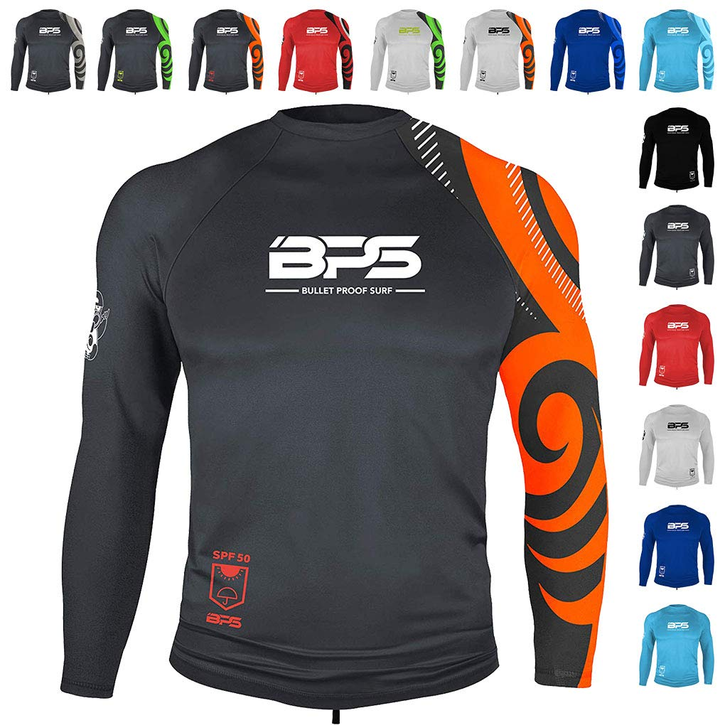 BPS Mens Longsleeve Quick Dry Rash Guard UPF 50+ - Charcoal Orange, S by BPS