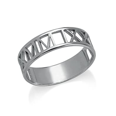 785d8e6e5 MyNameNecklace Roman Numeral Unisex Ring - Custom Made with Your own Roman  Date - Personalized Gift for Him or Her|Amazon.com