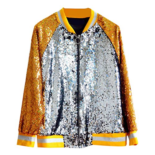 Zhhlinyuan Multicolor Vintage Sequined Baseball Jackets Tops for Women Elegant Party Hermosa ropa de mujer