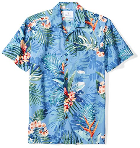 28 Palms Men's Standard-Fit 100% Cotton Tropical Hawaiian Shirt, Blue Bird of Paradise, X-Large