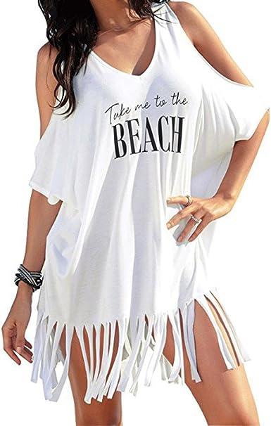 Vestidos Playa Mujer Verano Corto Vestido de Playa Casual Borla Vestir Ropa Falda Letra Impresa Vestido Traje de baño Holgado Causal Vestido Camisa para Mujeres: Amazon.es: Ropa y accesorios