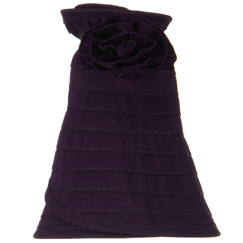 Purple Ribbon Flower Sewn Braid Roll Up Visor UPF 40
