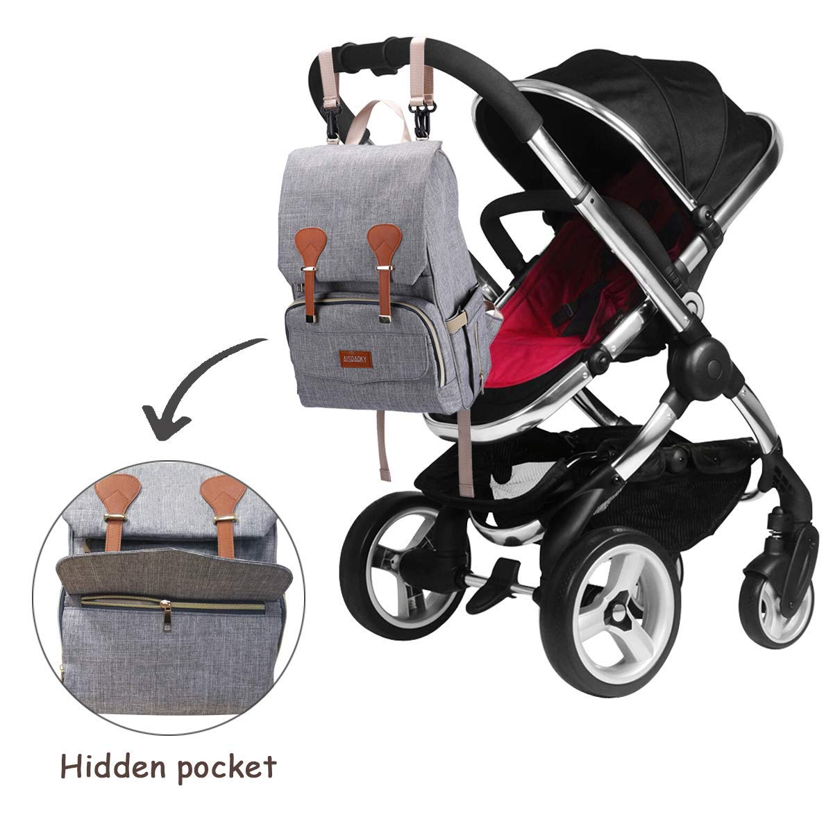 Multi-Function,Waterproof,Large Diaper Bag Backpack with Insulated Pocket for Mom/&Dad,Grey Baby Changing Bag,Rucksack Changing Bag,Baby Bag,Nappy Bag