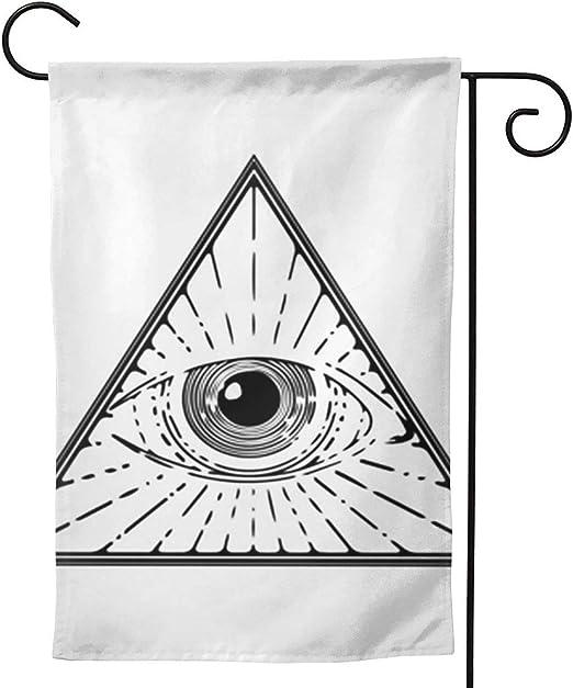 OMNVEQ Bandera de Jardín Símbolo de la pirámide del Ojo Que Todo lo ve Bandera de Temporada Festiva para Decoración de Exteriores Jardín Patio Bandera de Impresión a Doble Cara: Amazon.es: Jardín