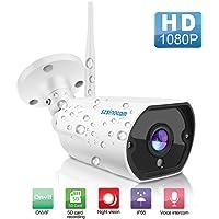 SZSINOCAM Cámara de Vigilancia WiFi Exterior/Interior 1080P,Camara de Seguridad con Visión Nocturna,Audio Bidireccional,Detección de Movimiento, Notificación de Alarma,Android/iOS App