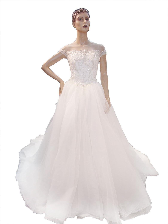 Amazon Jessie Q Bridal Women's Lace Chiffon Necline Elegant Wedding Dress Bride Gown Clothing: Lacey Elegant Wedding Dresses At Reisefeber.org