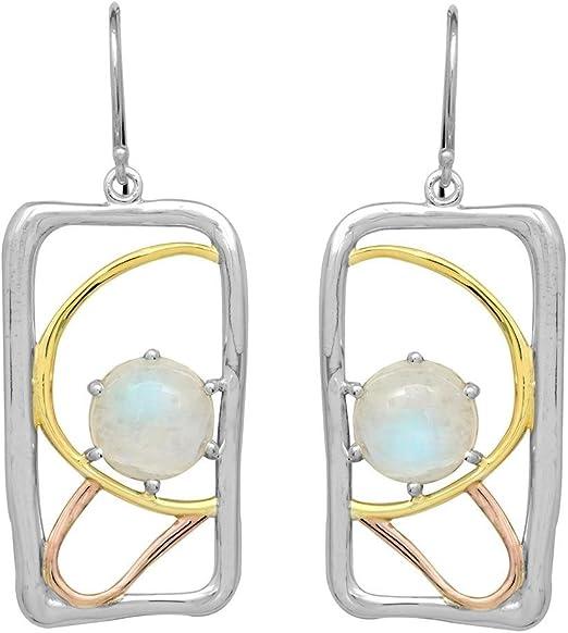 YoTreasure Moonstone High Polish Solid 925 Sterling Silver Women Stud Earrings