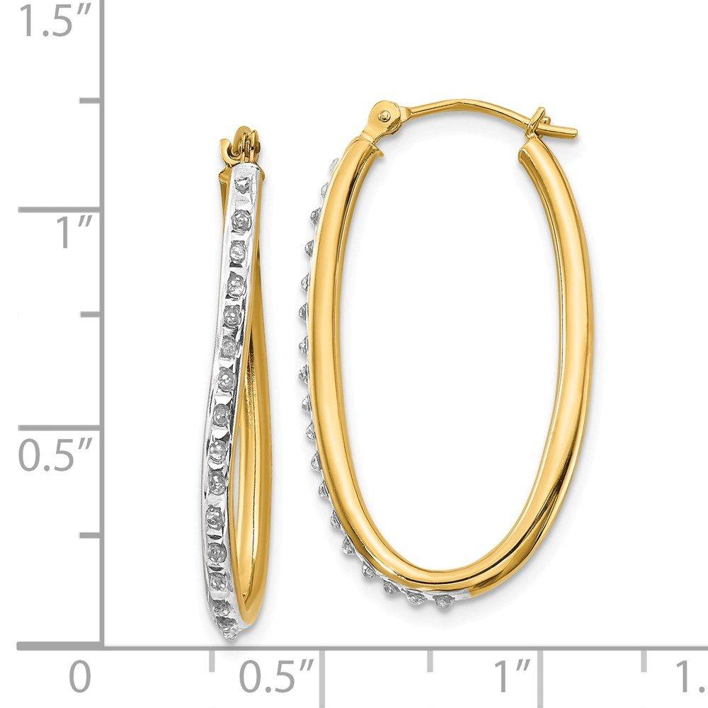 31mm X 2mm Mia Diamonds 14k Yellow Gold 0 01cttw Diamond Fascination Oval Twist Hoop Earrings Hoop Girls