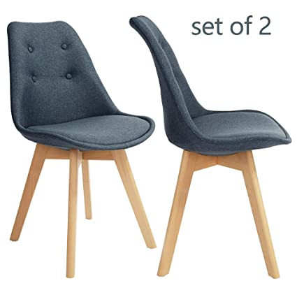Terrific Greenforest Dining Chairs Set Of 2 Modern Fabric Upholstered Accent Side Chairs With Solid Wood Legs Blue Caraccident5 Cool Chair Designs And Ideas Caraccident5Info