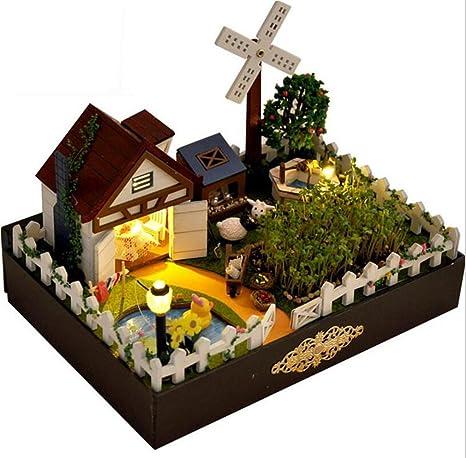 L&R Casa de muñecas Madera de la granja muñeca Mini casa muebles artesanales madera miniatura casa