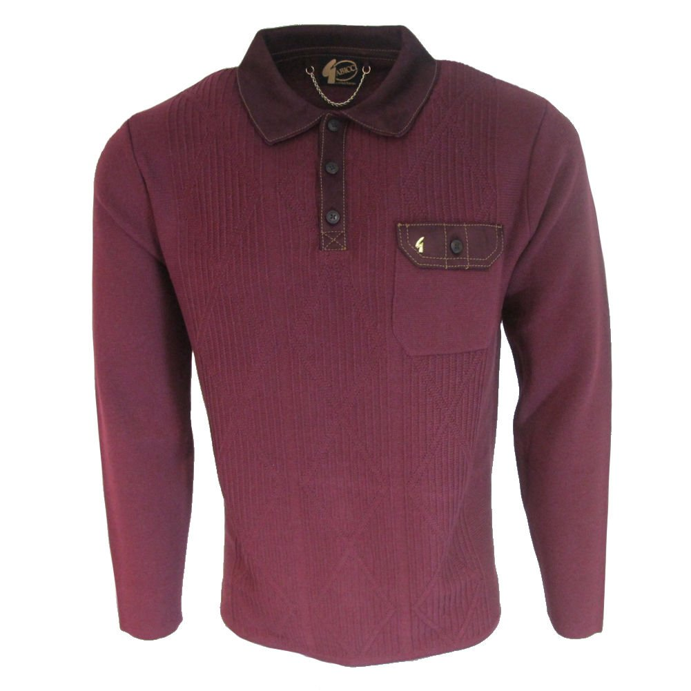 1960s Menswear Outfits | 60s Fashion for Guys Gabicci Mens Port Burgundy or Navy Romero Long Sleeve 70s Vintage Knitted Polo $119.95 AT vintagedancer.com