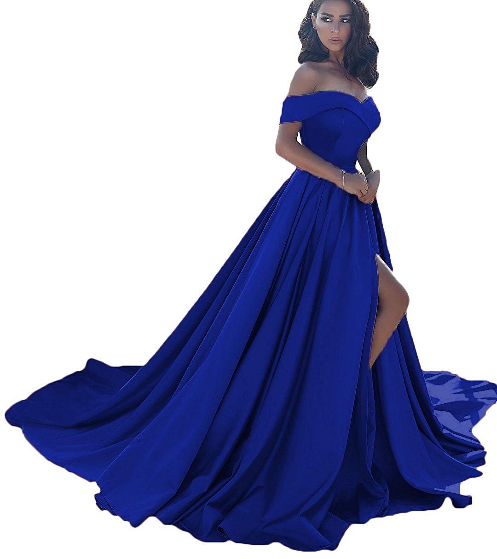 LOVING HOUSE Womens Off Shoulder A Line Split Prom Evening Dresses Long Formal Gown P001