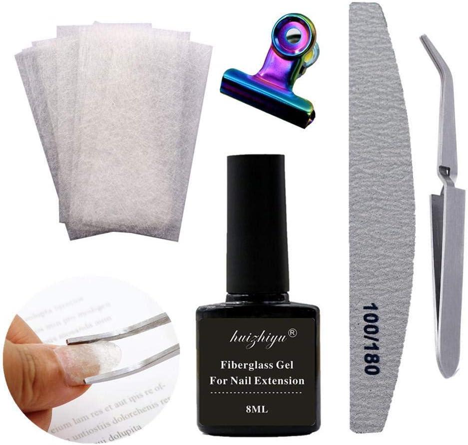 Cuttey Hoja de Fibra de extensión de uñas, Kit de uñas de Fibra de Vidrio Profesional para Conjunto de Herramientas de salón de manicura de extensión de construcción de uñas