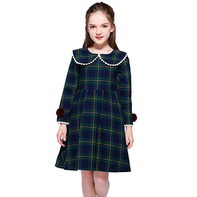 1930s Childrens Fashion: Girls, Boys, Toddler, Baby Costumes Kseniya Kids Fashion Girl Dress Long Sleeve Spring Cotton Plaid Babydoll Collar $15.99 AT vintagedancer.com