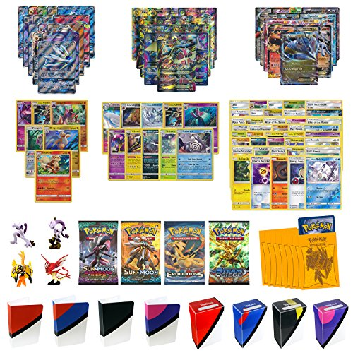 Pokemon Cards Super Premium Collection with 1 Full Art GX, 1 Full Art MEGA EX, 2 EX Cards, 6 Holo/Reverse Holo Cards, 10 Rares, 4 Boosters, 40 Cards, 65 Elite Sleeves, TopDeck Deck Box & Mini Binder by Assortmart