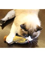 VWH Catnip Cat Toys Animal Plush Fish Play Toy 3D Fish Cushion Pillow (20cm gold)