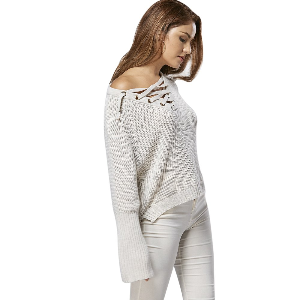 08b7875b3a DEZZAL Women s Criss-Cross Lace up Bell Sleeves Pullover Knitted Tops (One  Size