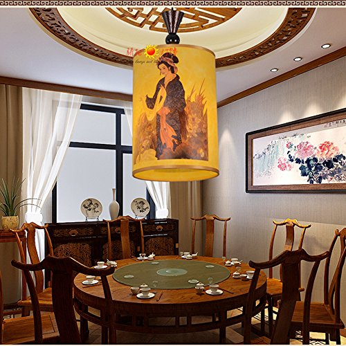 Injuicy Modern Chinese Classical Sheepskin PVC Pendant Lights Shades Lantern Ceiling Lights Fixtures Restaurant Dining Rooms Tea House Corridor Bar Balcony Decor (Girl Dia. 7.9 Inch)