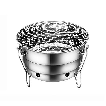 ZZ-aini Portátil Barbacoa de carbón Redonda Acero inoxidable, Camping Picnic Barbecue Sobremesa Grill