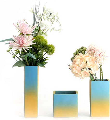 Tuumee Ceramic Square Flower Vase Set of 3 for Home Decor Living Room Centerpieces and Events Gradient Matt, Yellow-Blue