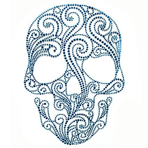 nsfer Hot Fix Motif Fashion Design Flower Line Blue Skull 1 Sheets ()