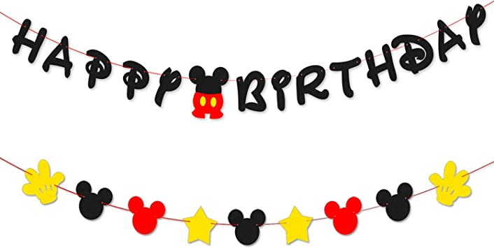 Amazon.com: PANTIDE - Pancarta de Mickey para cumpleaños ...