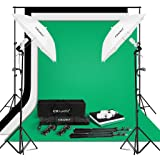 """CRAPHY 250W Photo Studio Umbrella Continuous Lighting Kit with Photography Backdrop Kit,3Mx2M Background Support System,1.8Mx2.8M Muslin Backdrops(Green,White,Black),125W Bulb,33"""" Umbrella,80""""Light Stand for Portrait Video Shooting"""