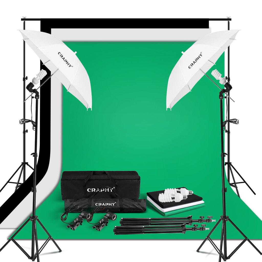 CRAPHY Photo Studio Umbrella Lighting Kit 1250W 5500K Photography Daylight Umbrella with Muslin Backdrop Kits(9x6FT White Black Green),Background Stand Kit(10x6.5FT) by CRAPHY