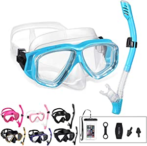 OMGear Snorkel Set Snorkeling Gear Package Diving Set Premium Silicone Dive Goggles Snorkel Equipment Goggles Neoprene Mask Strap Scuba Diving Freediving Spearfishing Swimming