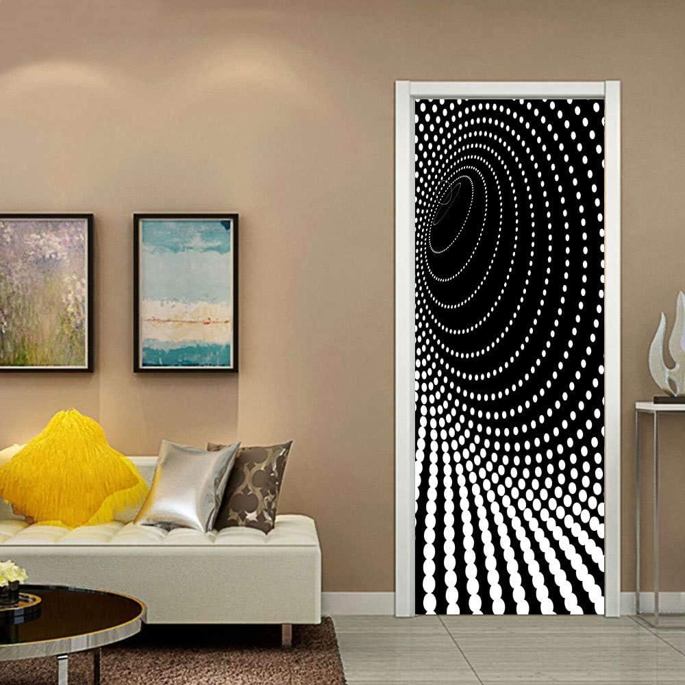 LMYWSX Sticker De Porte Vinyle 3D Art Poster Point Hypnotique Chambre Salon Maison D/écoration Imperm/éable Amovible Affiches Auto-Adh/ésifs Papier Peint 90X200Cm